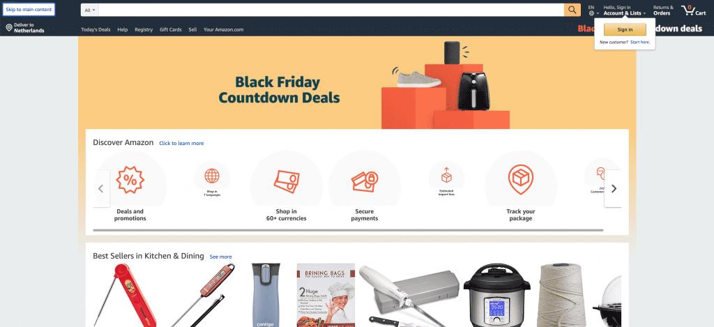 Amazon is een voorbeeld van een toegankelijke webshop