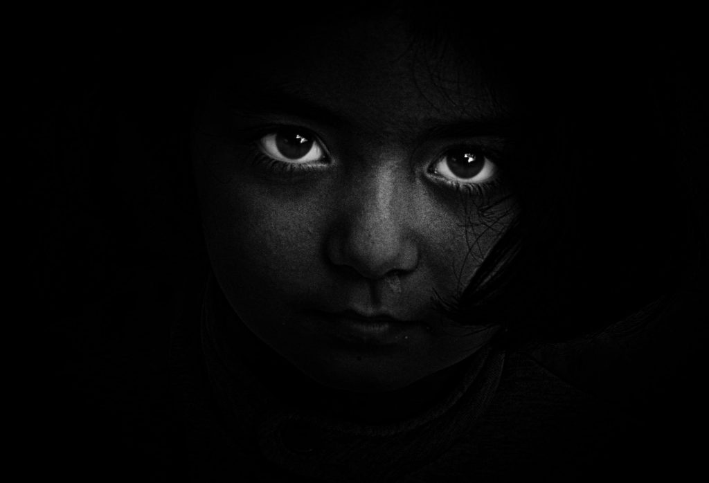 zwartwit foto van ogen