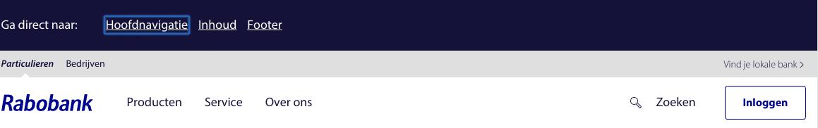 Voorbeeld van een 'skip to main content' gedeeltee