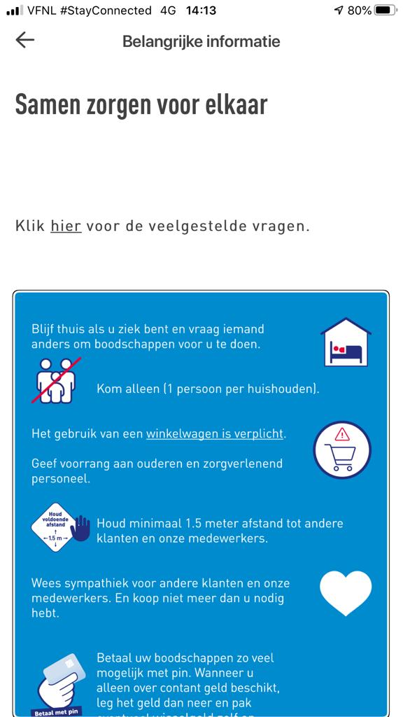Screenshot van de app van Aldi