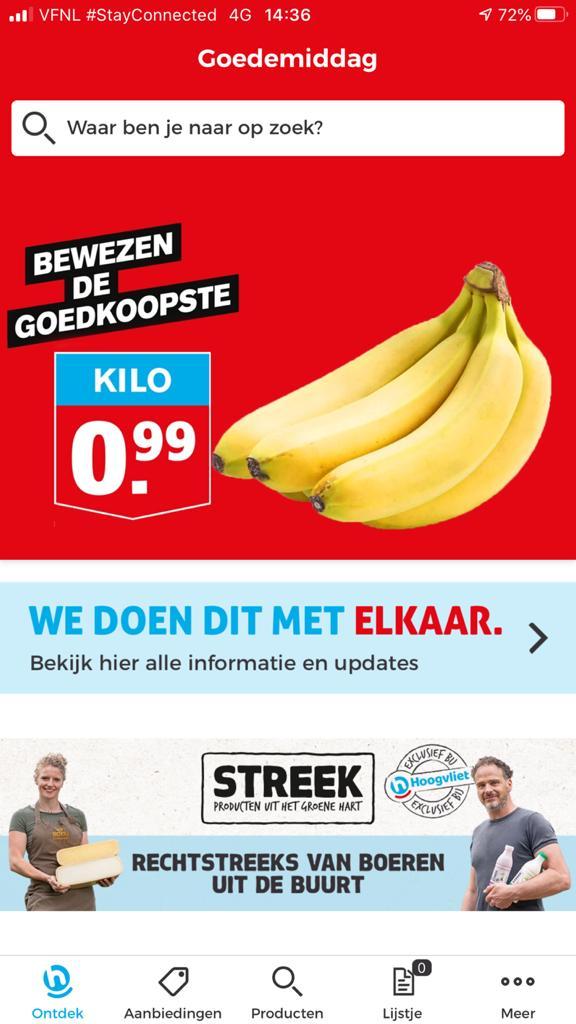 Screenshot van de app van Hoogvliet
