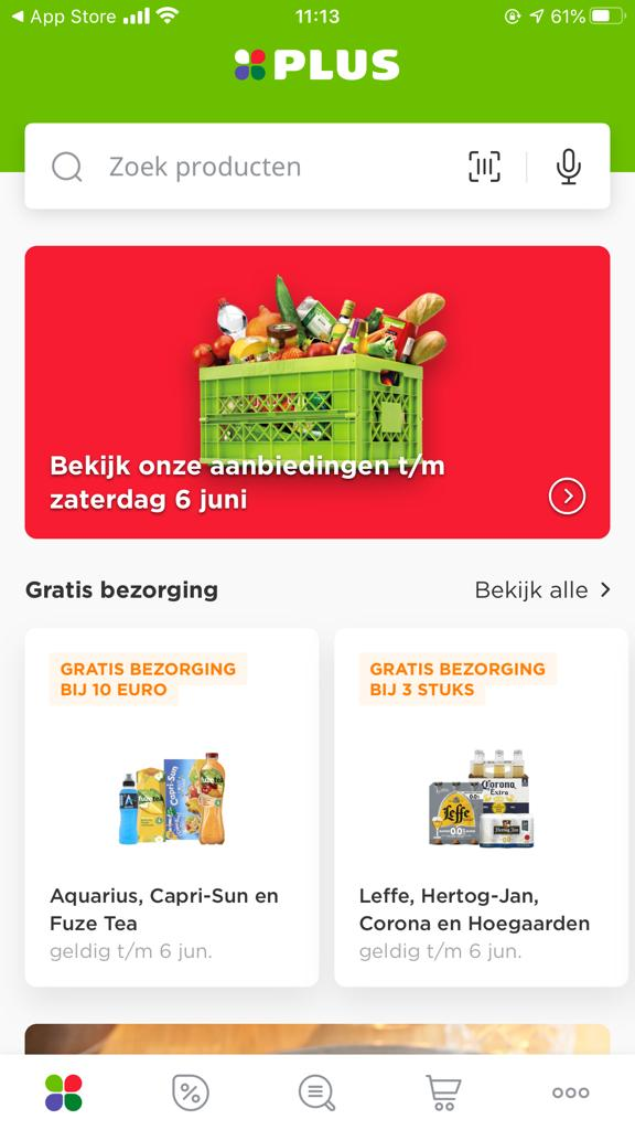 Screenshot van de app van Plus