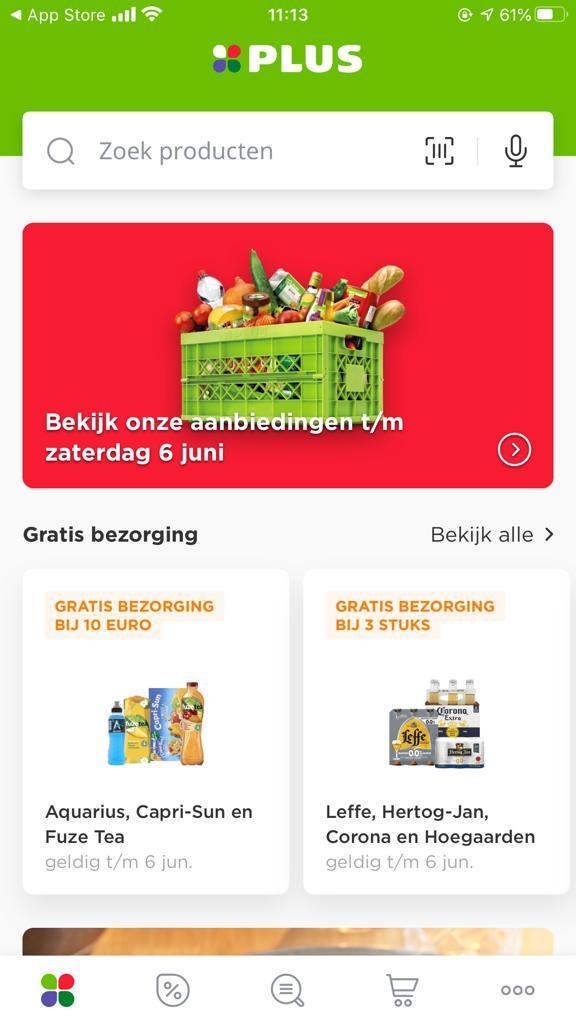 Screenshot van de app van Plus