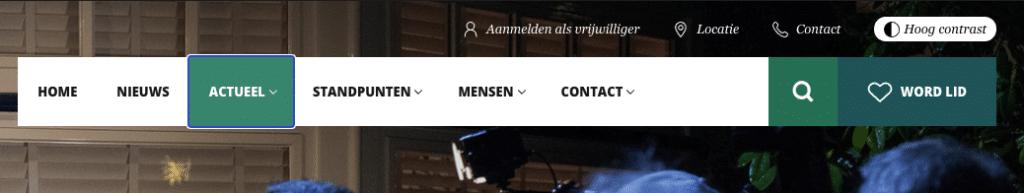 screenshot van de header van de website van het CDA waarin goed te zien is dat het geselecteerde element helder uitgelicht is voor toetsenbordgebruik