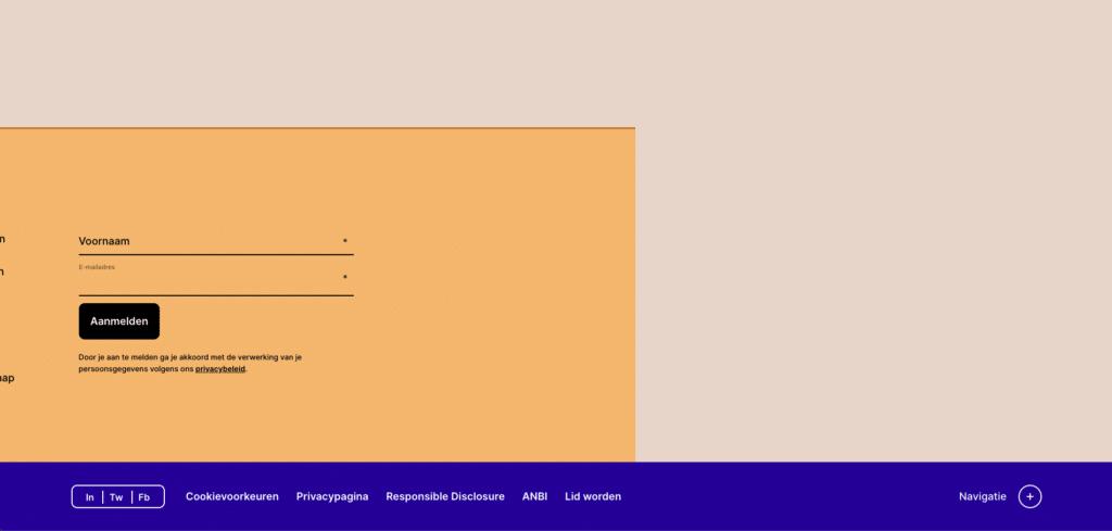 Screenshot van de home van D66, waarop te zien is dat het misgaat als je het toetsenbord gebruikt om te navigeren