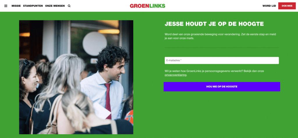 Screenshot van het nieuwsbrief blok op de website van groenlinks, met onvoldoende contrast