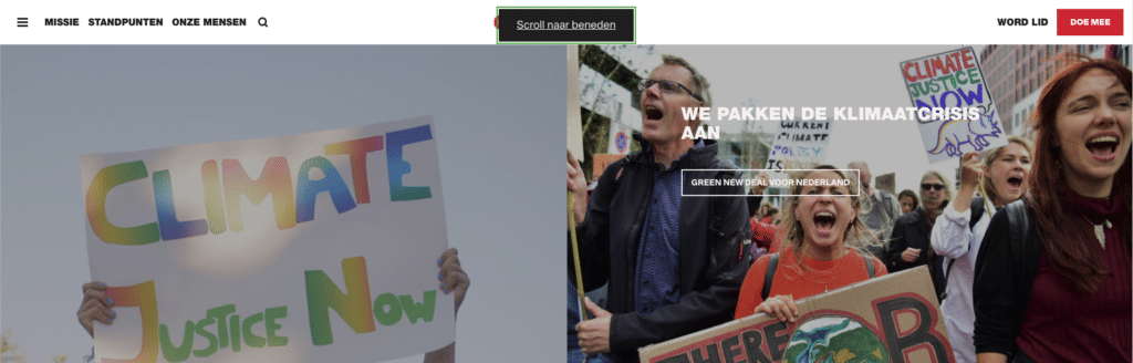 Screenshot van de header van de website van GroenLinks waarop te zien is dat je direct naar de inhoud kunt gaan als je navigeert met toetsenbord