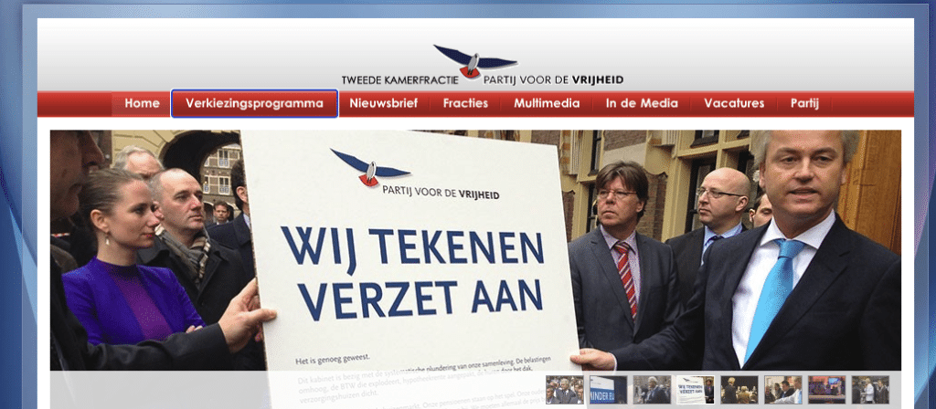 Screenshot van de homepagina van de website van de PVV, waarop te zien is dat je goed kunt navigeren met toetsenbord, doordat het huidige element wordt belicht.