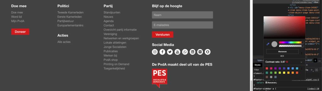 Screenshot van de footer van de website van de PvdA, waarop het contrast tussen achtergrond en tekst niet voldoende is