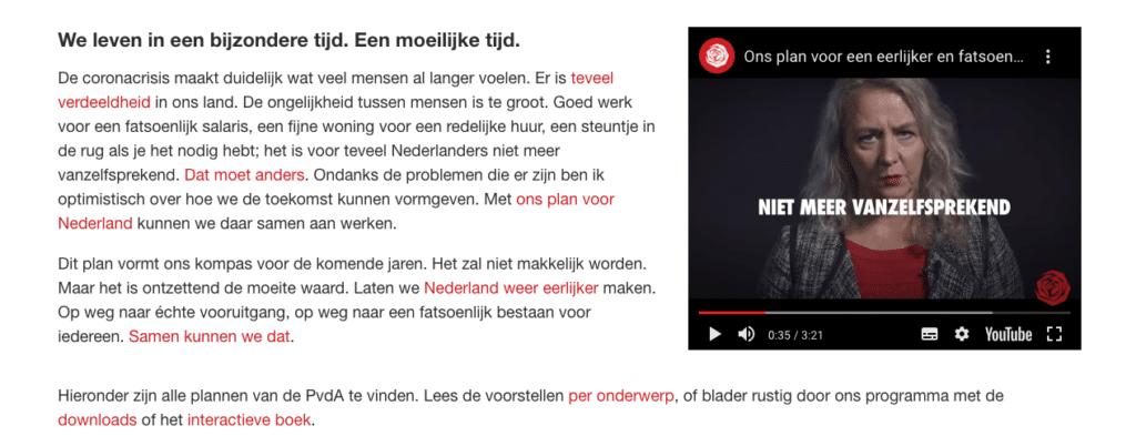 Screenshot van de website van de PvdA waarop te zien is dat benadrukte woorden dezelfde kleur hebben als hyperlinks.