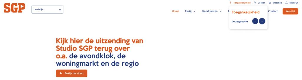 screenshot van de SGP website, waarop je kunt zien dat ze je aanbieden de tekst te vergroten
