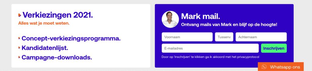Screenshot van de homepage van de VVD met een nieuwbriefformulier met de foto van Mark Rutte