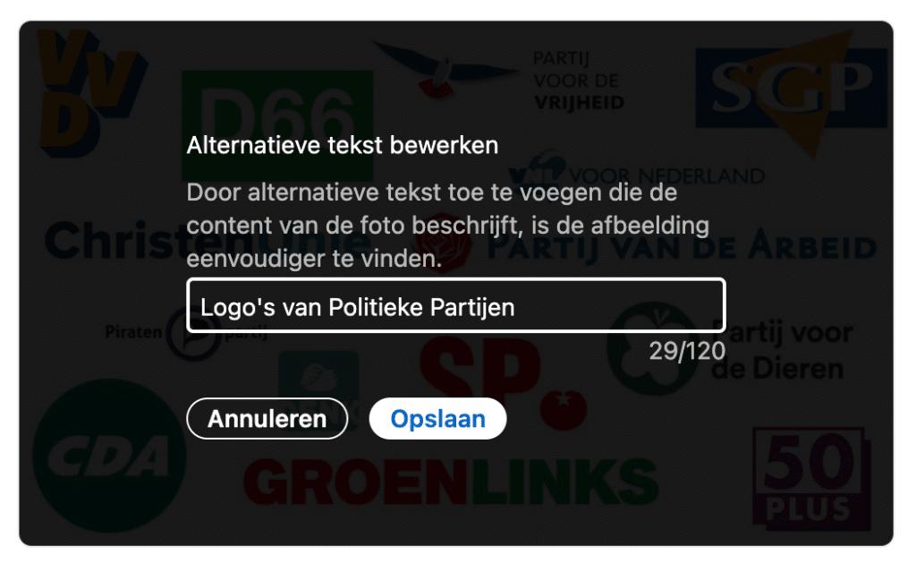 Screenshot van een LinkedIn bericht waarop de optie om alt tekst toe te voegen