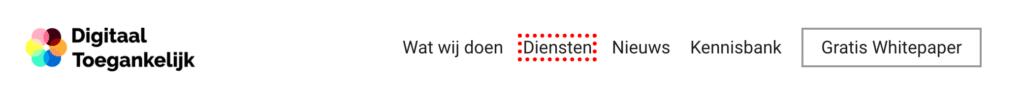 Screenshot van de header van Digitaal Toegankelijk.nl, waarin te zien is dat het geselecteerde element gehighlight is door een kader eromheen.