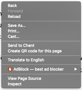 screenshot van de pop-up die je ziet als je klikt op je rechtermuisknop. Je kunt dan kiezen voor 'Inspect' om Lighthouse te openen.