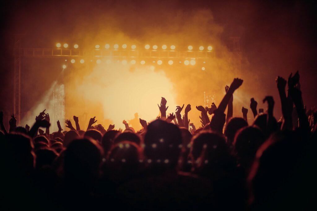 mensen op een feest van achter gezien met hun handen in de lucht