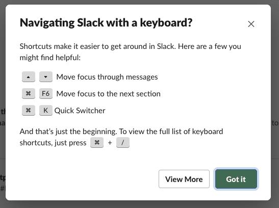 Screenshot van Slack waarin de shortcuts te zien zijn op het moment dat je toetsenbord wilt gebruiken