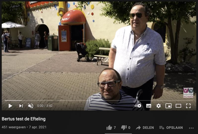 Screenshot van Youtube-filmpje waarin de efteling getest wordt op toegankelijkheid